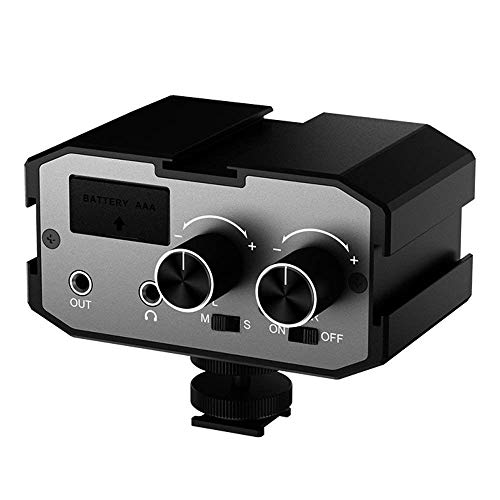 Comica CVM-AX1 Audio Mixer Adapter Universal Dual Channels 3.5mm Port Camera Mixer for Canon Nikon Sony Panasonic DSLR Camera Camcorder (Support Real-time Monitoring)