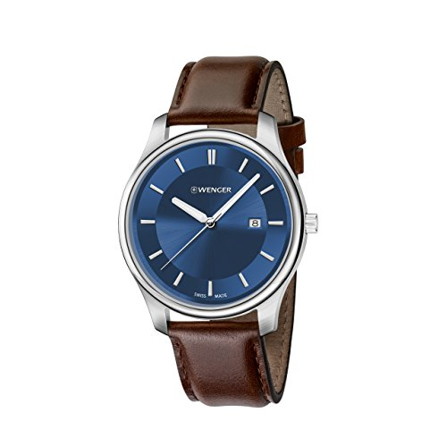 Wenger Men's City Classic Stainless Steel Swiss-Quartz Watch with Leather Calfskin Strap, Brown, 21 (Model: 01.1441.116)