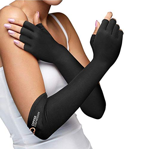 Copper Compression Long Arthritis Gloves - Guaranteed Highest Copper Infused Extra Long Fit Glove for Women & Men. Best for Carpal Tunnel, Computer Typing, RSI, Support Hands, Wrist and Arms - 1 PAIR