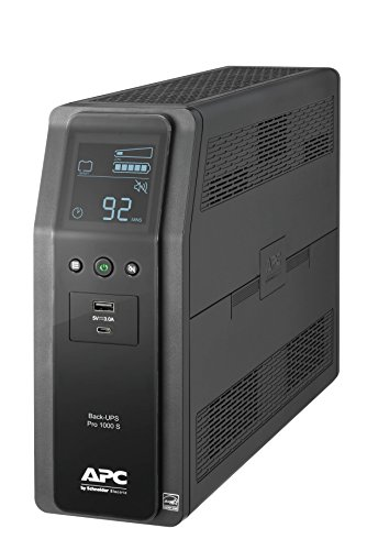 APC UPS, 1000VA Sine Wave UPS Battery Backup & Surge Protector, BR1000MS Backup Battery with AVR, (2) USB Charger Ports, Back-UPS PRO Uninterruptible Power Supply