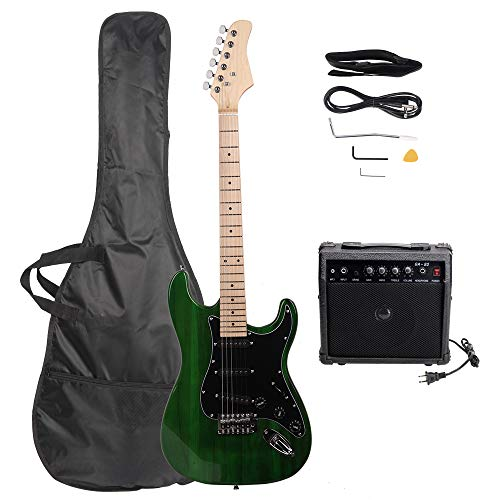 GLARRY Full Size Electric Guitar for Music Lover Beginner with Amp and Accessories Pack Guitar Bag (Green)