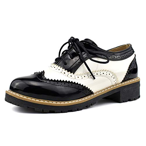 100FIXEO Women Wingtip Lace Up Vintage Oxford Shoes Brogues (9, Black)