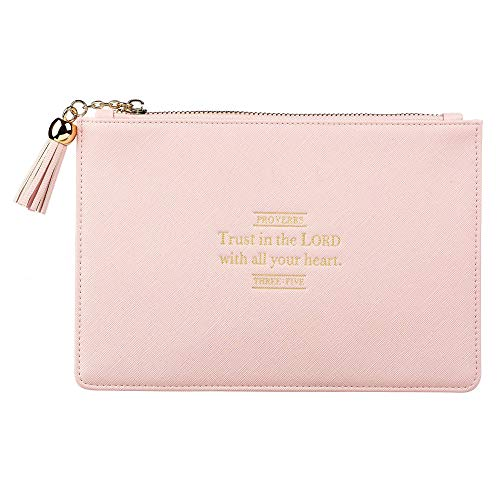 Trust in The Lord Proverbs 3:5 Pink Faux Leather Zippered Pouch | Minimalist Women's Clutch Purse for Smart Phones Travel Makeup Personal Supplies Toiletries Cosmetics Pencils