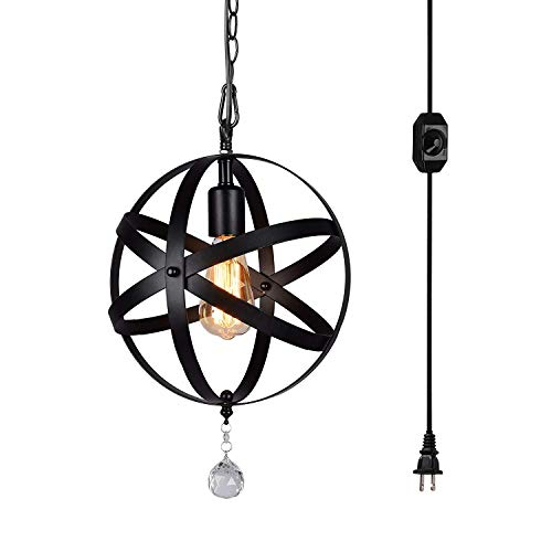 HMVPL Plug-in Industrial Globe Pendant Lights with 16.4ft Hanging Cord and On/Off Dimmer Switch, Vintage Metal Spherical Lantern Chandelier Swag Ceiling Lighting Fixture for Kitchen Island Bedroom Bar
