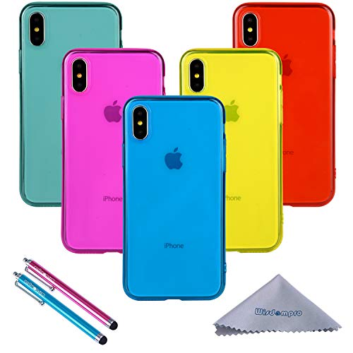 Wisdompro iPhone Xs Max Case, Bundle of 5 Pack Extra Thin Slim Jelly Soft TPU Gel Protective Case Cover for Apple iPhone Xs Max (Blue, Aqua Blue, Hot Pink, Yellow, Red)- Transparent Color