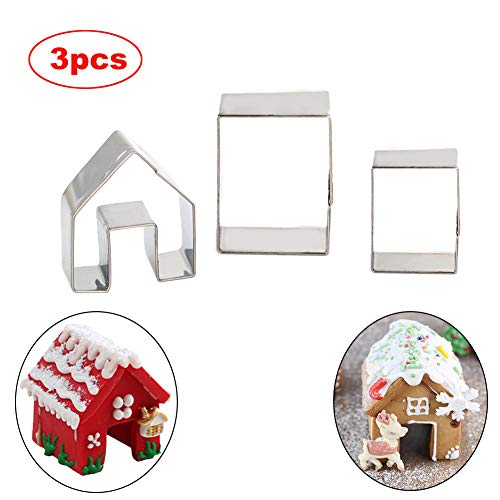 SIENON Gingerbread House Cookie Cutter Set 3pcs, 3D Stainless Steel Mini Christmas House Cookie Cutter Kit, Christmas House Biscuit Cookie Mold, Christmas Holiday DIY Baking Tools