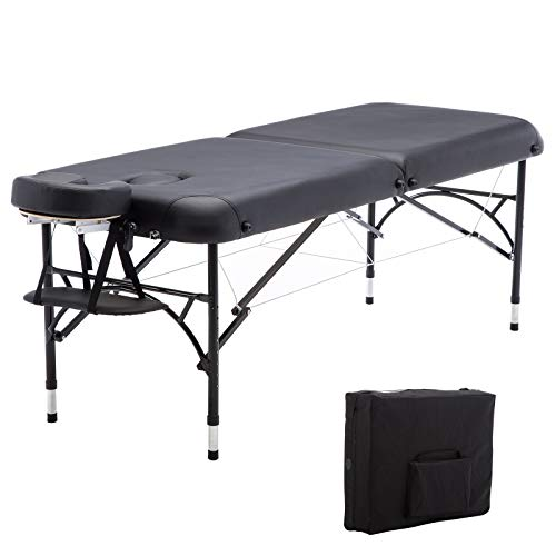 Artechworks 84' Professional 2 Folding Portable Lightweight Massage Table Facial Solon Spa Tattoo Bed With Aluminium Leg(2.56' Thick Cushion of Foam)