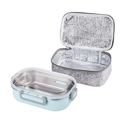 Lille Home 22oz Stainless Steel Leakproof Lunch Box, Bento Box/Food Container with Insulated Lunch Bag, Perfect Holiday Gift (Blue)