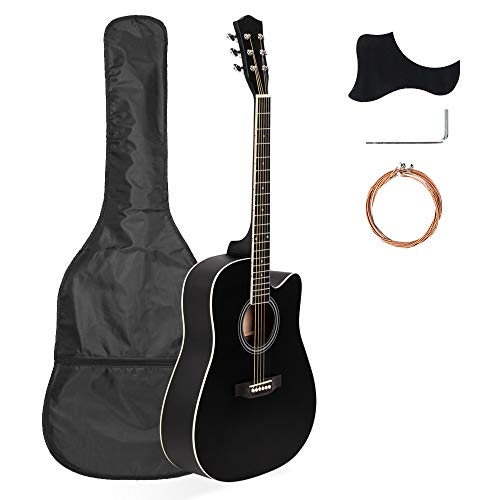 41 Inch Wood Guitar Kit Bundle Guitar Beginner Wood Guitar Starter Kit Acoustic Guitar with Bags Protective Board and Wrench Black