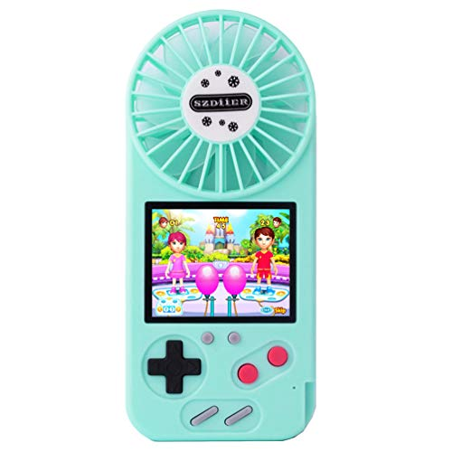 POKPOW Mini Handheld Game Console Fan USB Small Personal Portable Stroller Fan with Built-in 500 Classic Retro Video Games Color HD Screen Rechargeable fan for Travel Office Household (Blue)
