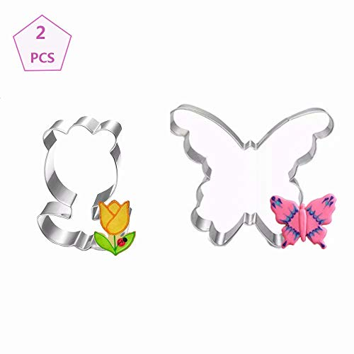 Easter Cookie Cutters Butterfly & Flower Cookie Cutter Biscuit Cutter Sandwich Cutters for Kids 2 PCS 3.43', 2.20' - Stainless Steel Birthday Party Supplies Favors