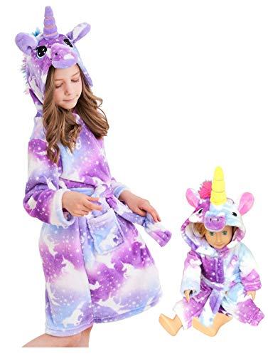 Unicorn Hooded Bathrobe Sleepwear Matching Doll & Girls Gifts (Purple Unicorns, 5-6 Years)