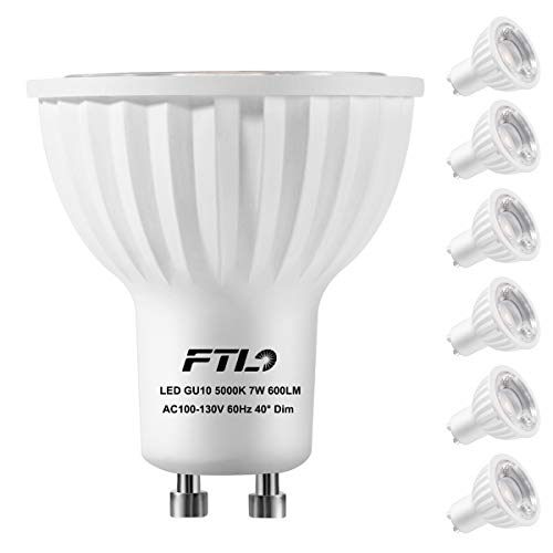 GU10 LED Light Bulbs, Dimmable 7 Watt Spotlight, Daylight White 5000K,50W 75W Halogen Bulbs Equivalent,CRI80+,Track Lighting and Recessed Lighting Bulbs,6-Pack
