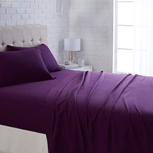 AmazonBasics Lightweight Super Soft Easy Care Microfiber Bed Sheet Set with 16' Deep Pockets - Queen, Plum