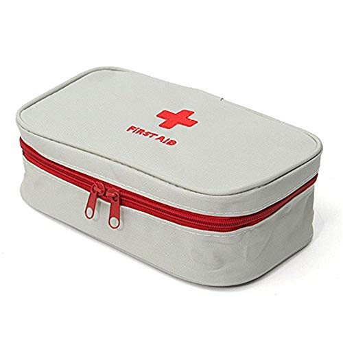 King&Pig Portable Empty First Aid Bag Kit Pouch Home Office Medical Emergency Travel Rescue Case Bag Medical Package (Grey, L)