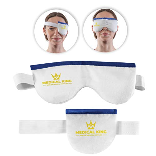 Eye Mask for Dry Eyes - 2 Pack - Includes a Single Eye mask and a Double Eye mask - Moist Compress pad, Cool and Heat, microwavable Heating pad, Helps for Pink or Puffy Eye, Stye Blepharitis, MGD