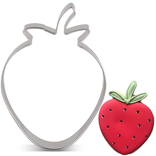 LILIAO Strawberry Cookie Cutter - 2.6 x 3.5 inches - Stainless Steel