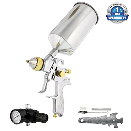 TCP Global Brand Professional 1.3mm HVLP Spray Gun-gravity Feed-auto Paint Basecoat Clearcoat with Air Regulator (G6600-13)