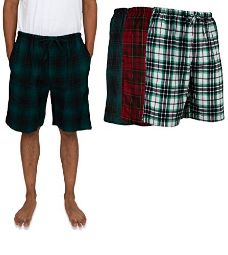 Andrew Scott Men's 3 Pack Light Weight Cotton Flannel Soft Fleece Brush Woven Pajama/Lounge Sleep Shorts (3 Pack - Assorted Classics Plaids, XXX-Large)
