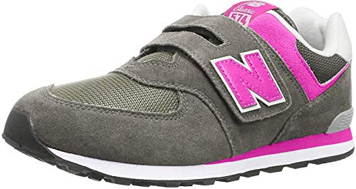 New Balance Kid's 574 V1 Evergreen Hook and Loop Sneaker, Grey/Pink, 9 M US Toddler