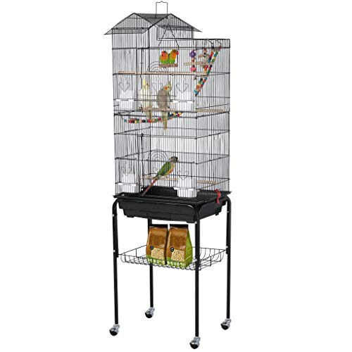 YAHEETECH Roof Top Large Flight Parakeet Parrot Bird Cage with Rolling Stand for Parakeets Cockatiels Lovebirds Finches Canaries Budgie Conure Small Parrot Bird Cage Birdcage