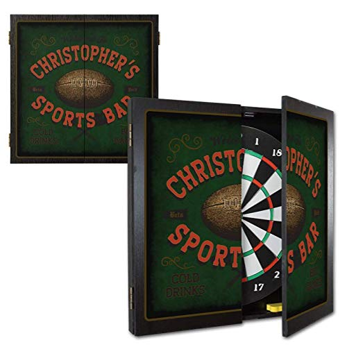 THOUSAND OAKS BARREL CO.   Personalized Football Dartboard & Cabinet Set with 6 Steel Tip Darts   Vintage Sportsman Wall Art   Game Room Décor   Cricket & Baseball Darts