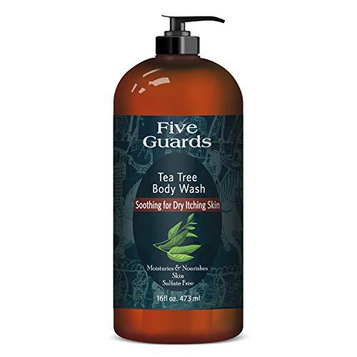 FIVE GUARDS Tea Tree Oil Body Wash W/Mint Removes Body Odor, Athlete's Foot, Jock Itch, Skin Irritations Botanical Shower Gel Soap Women & Men W/Oregano, Rosemary, Cinnamon Oil - 16 fl oz