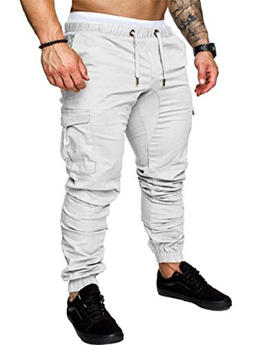THWEI Men's Cargo Pants for Men Slim Fit Casual Jogger Athletic Long Pant Chino Sweatpants Trousers White