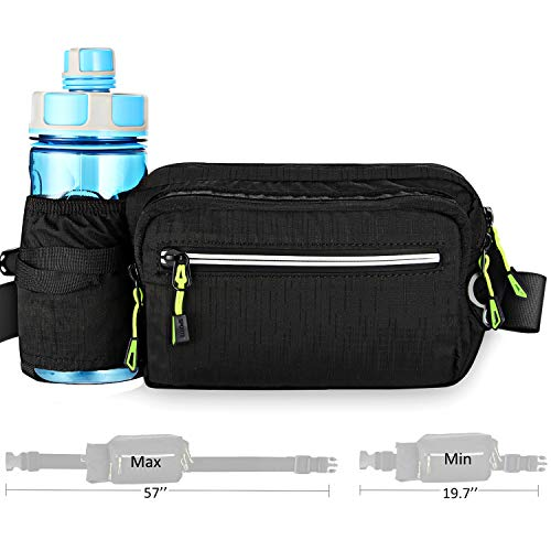 Aocharm Fanny Pack with Water Bottle Holder Hiking Waist Bag Pack for Men Women Outdoors Running Camping Travel Dog Walking Fit 6.5 inches Large Cell-Phone Black