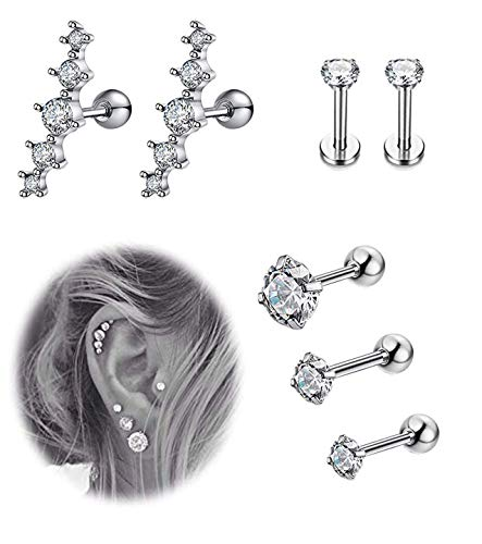 YOVORO 7Pcs 16G Stainless Steel Cartilage CZ Stud Earrings for Women Girls Helix Tragus Daith Piercing Jewelry S1