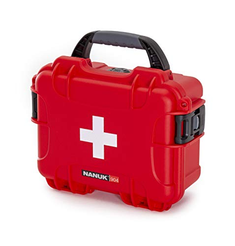Nanuk 904 Waterproof First Aid Prepper Survival Gear Dust and Impact Resistant Case - Empty - Red