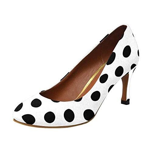INTERESTPRINT Black and White Polka Dots High Heel, Formal, Wedding, Party Simple Classic Dress Pump US7