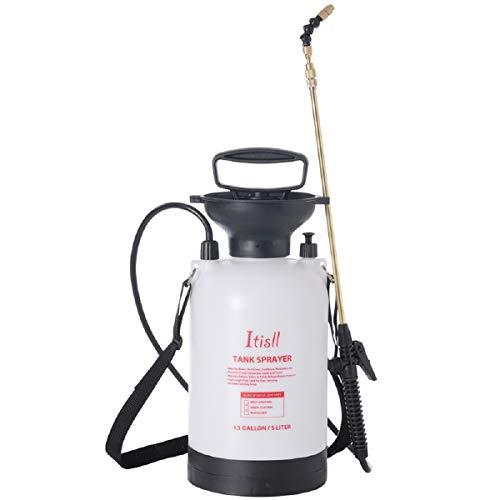 ITISLL Portable Garden Pump Sprayer Brass Wand Shoulder Strap for Yard Lawn Weeds Plants 1.3Gal