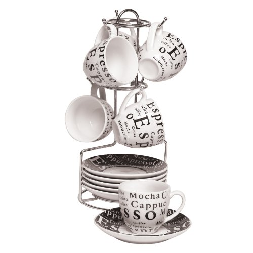 Gibson Espresso Expressions 13-Piece Set with Rack , White - 65631.13RM