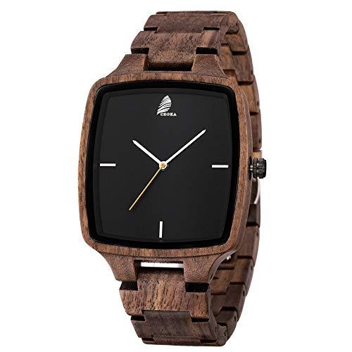 Men's/Women Wooden Watch,CZOKA Wrist Watches Men/Woman 100% Natural Wooden Quartz Movement Clock+Date/Week Display Unisex Design Lightweight for Women's and Man's (Square Black Walnut)