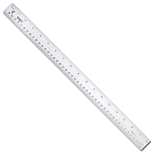 VINCA SSRN-18 Stainless Steel Office Drawing Ruler 0-18 Inch 0-45cm with Non Slip Cork Base Measuring Tool