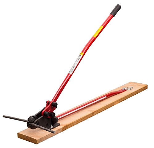 HIT Tools 22-RC16W-3 Rebar Cutter and Bender on Wooden Board, 5/8', Red/Black