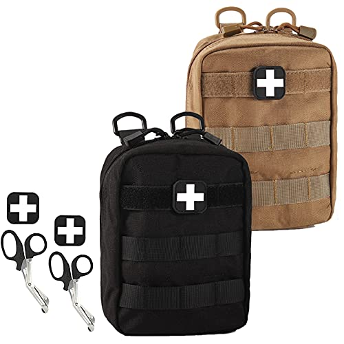 Medical Pouch - 1000D Tactical MOLLE EMT Pouches First Aid IFAK Utility Bag with First Aid Patch and Shear (2 Pack Black+Tan)