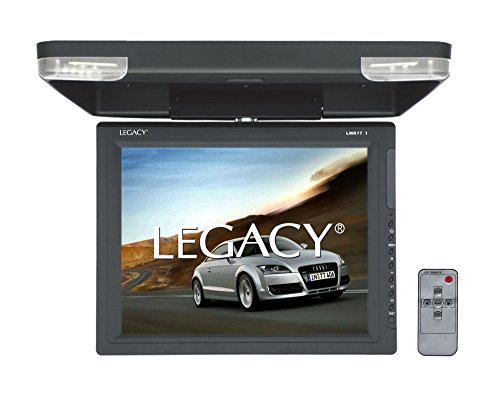 Flipdown Car Overhead Roof Mount - High-Resolution All-in-one Display Monitor, HDMI & USB Input, Built-in FM & IR Transmitter w/ LED Surround Light & Dual Dome Mounted Lights - SereneLife LMR17.1