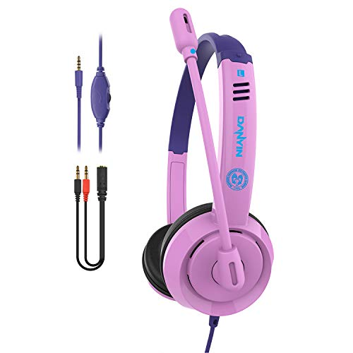 Pmallcity Kids Headphones with Volume Control, Wired Headphones with Noise Isolation Microphone and Adjustable Headband, 3.5mm Jack Children Over-Ear Headphone for School,Home, Travel (Pink)