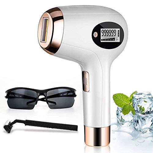 IPL Hair Removal | Laser Hair Removal for Women - Upgraded 999,999 Flashes with 2 Flash Windows, Permanent Hair Removal for Legs, Arms, Underarm, Face,Bikini Line,Chest. (White& Golden) Gift