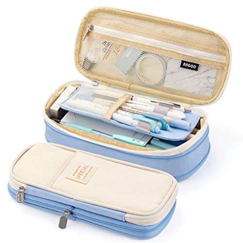 EASTHILL Big Capacity Pencil Pen Case Office College School Large Storage High Capacity Bag Pouch Holder Box Organizer Light Blue New Arrival