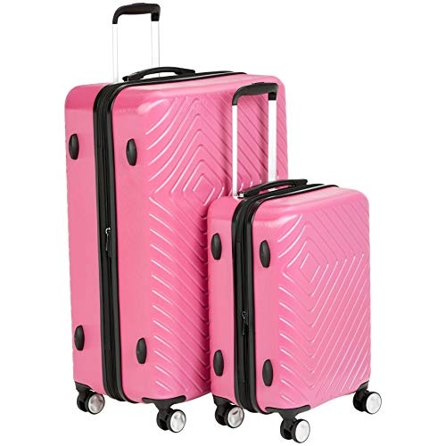 AmazonBasics 2 Piece Geometric Hard Shell Expandable Luggage Spinner Suitcase Set - Pink