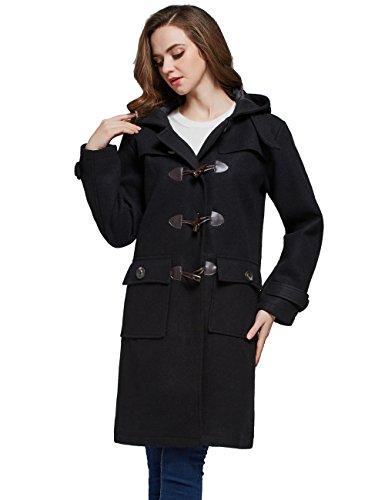 Camii Mia Women's Vintage Winter Hooded Wool Blend Duffle Toggle Coat (Large, Black)