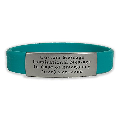 Waterproof in Case of Emergency Performance Teal Skinny Sport Fitness Safety ID Bracelet Hypo-allergenic Silicone with Free Engraving (Medium)