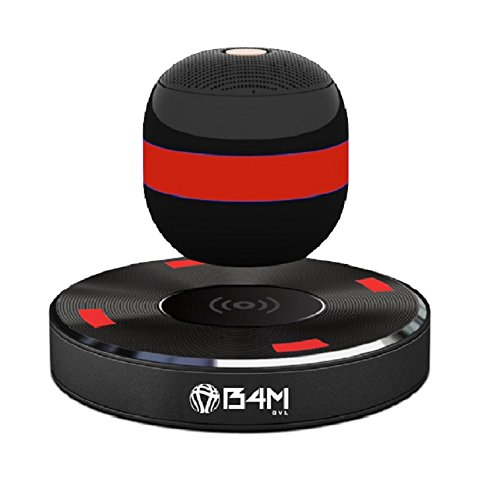 B4M OVL-Dark Black Levitating Bluetooth Speaker - Portable Floating & Rotating Wireless Speaker with Bluetooth 4.1 - Wireless Charging Speaker for iPhone Ipad Samsung HTC Pixel PC Tablet