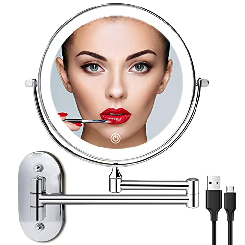 Rechargeable Wall Mounted Lighted Makeup Vanity Mirror 8 Inch Double Sided 1X 10X Magnifying Bathroom Mirror, 3 Color Lighting, Touch Screen Dimming, Extended Arm 360 Rotation Shaving Light up Mirror