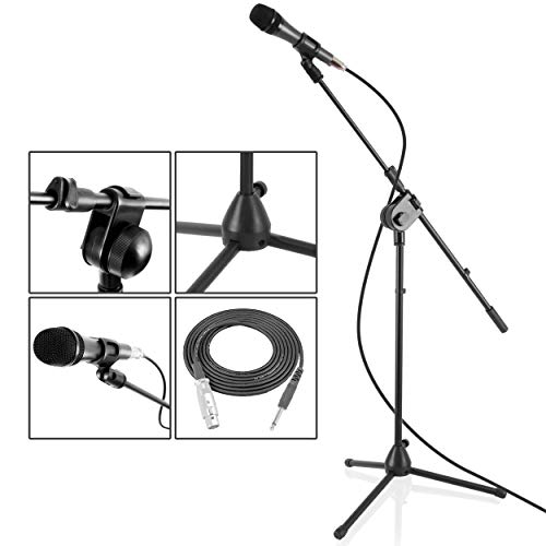 PYLE Dynamic Microphone and Tripod Stand Arm Mic Length 7.48'' Inch w/Acoustic Pop Filter - Includes 15' ft XLR Cable, Black (PMKSM20)