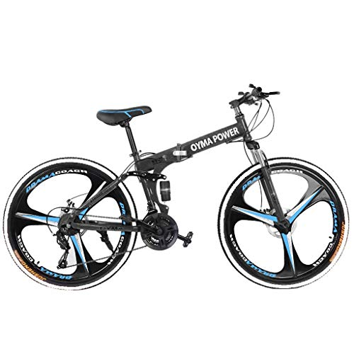 26in Folding Mountain Bike 21 Speed Bicycle Full Suspension MTB Bikes LARNOR Bikes for Men/Women (Blue)