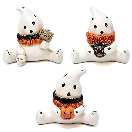 Gift Boutique Halloween Ghost Decorations, Set of 3 Sitting Vintage Ghosts Home Party Holiday Decor,Figurines Decoration for Fireplace Mantle Shelf, Quality Resin Statues